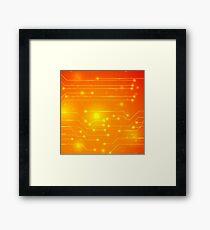 Modern Computer Technology Orange Background. Circuit Board Pattern. High Tech Printed Circuit Board Framed Print