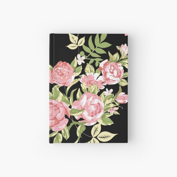 Vintage Black and Pink Floral Hardcover Journal