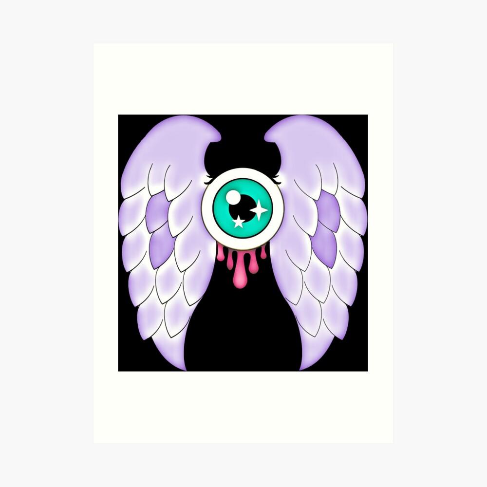 Pastel Goth | Winged Eye | Black Art Print