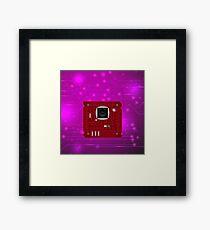 Modern Computer Technology Pink Background. Circuit Board Pattern. High Tech Printed Circuit Board Framed Print