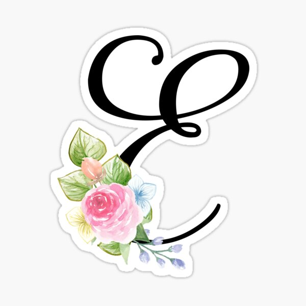 Floral Monogram Fancy Script Letter E Sticker