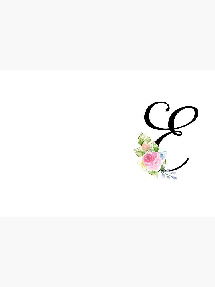 Floral Monogram Fancy Script Letter E by Grafixmom