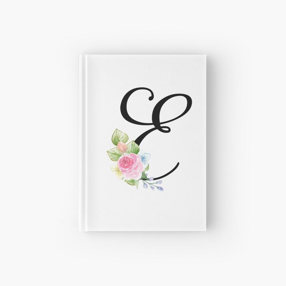 Floral Monogram Fancy Script Letter E Hardcover Journal