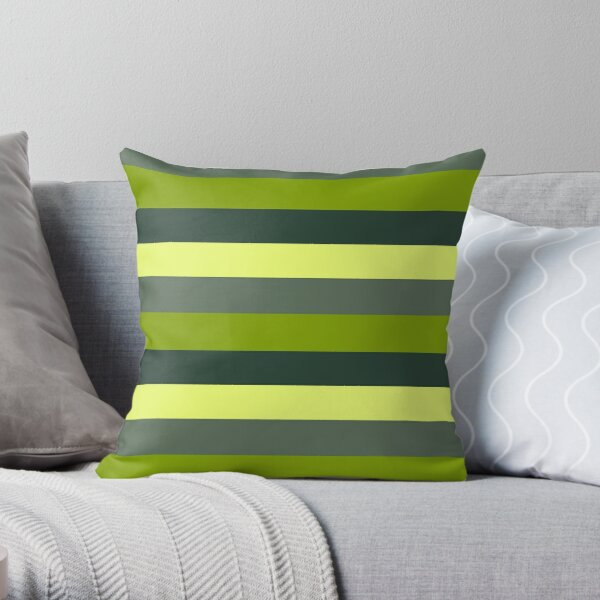 Green stripe monochromatic color block stripe pattern Throw Pillow