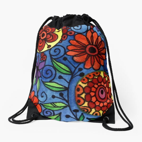 Abstract Colorful Flowers Drawstring Bag