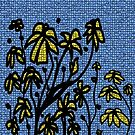 Blue mosaic yellow floral  by HEVIFineart