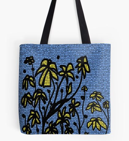 Blue mosaic yellow floral  Tote Bag