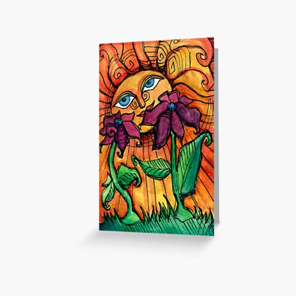 Sunshine Summer with Flowers Greeting Card