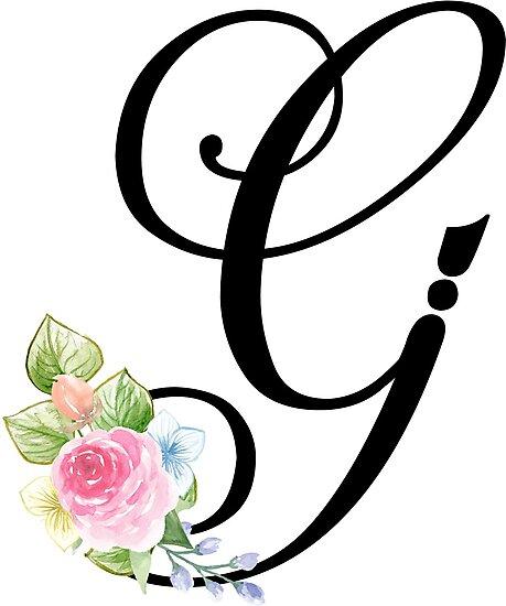 floral monogram fancy script letter g