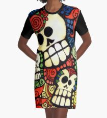 Day of the Dead Sugar Skulls Graphic T-Shirt Dress