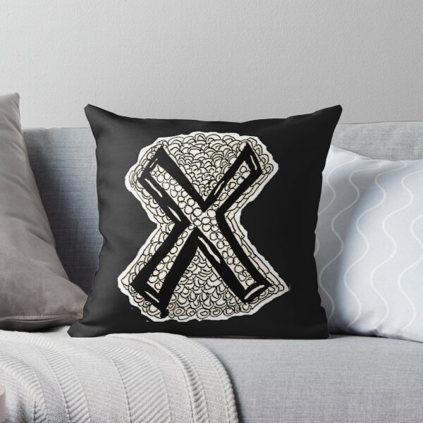 Upper case black and white alphabet Letter X Throw Pillow