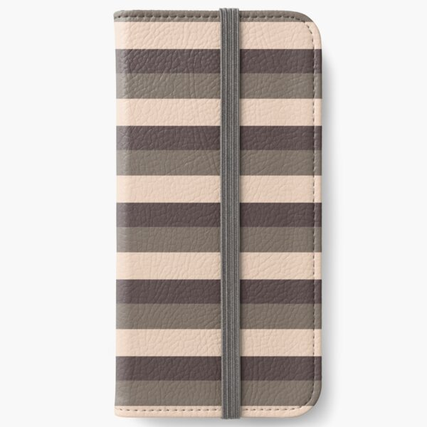 Taupe monochromatic color block stripe pattern  iPhone Wallet