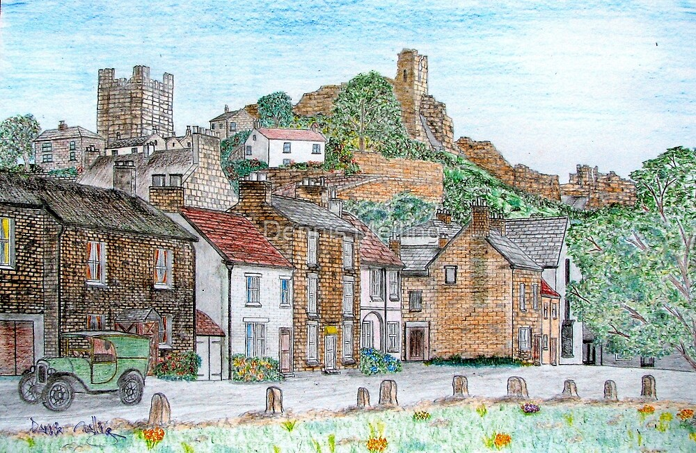 Graphite and Coloured Pencil Drawing of  Richmond, Yorkshire 1071 by Dennis Melling
