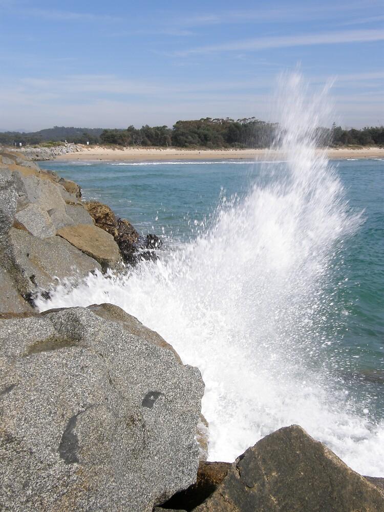 Moruya Breakwall Splash by SoulSurfer