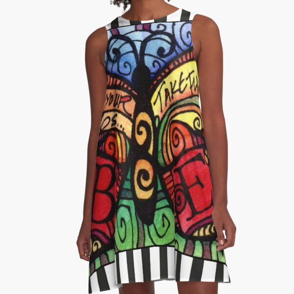 Spread Your Wings Inspirational Butterfly A-Line Dress