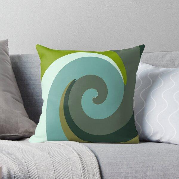 Multicolor Green swirls wave Throw Pillow