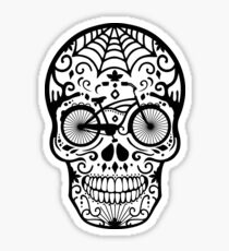 Vintage Mexican Skull with Bicycle - black and white Sticker
