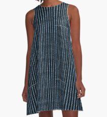Blue Denim with black stripe pattern A-Line Dress