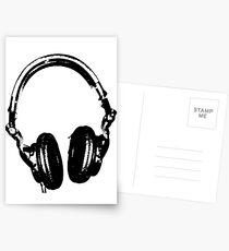 DJ Headphones Stencil Style Postcards