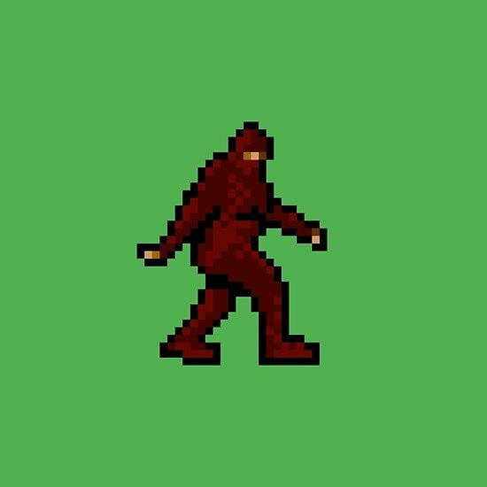 Bigfoot 8 Bit Pixel Art Poster By 8bitpoet