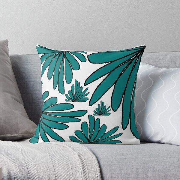 Green fern floral abstract Throw Pillow