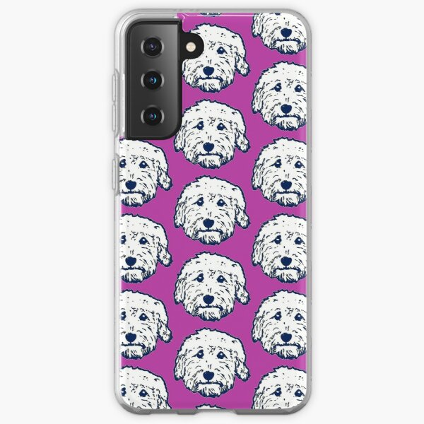 Goldendoodle face silhouette! Adorable doodle dogs with purple background Samsung Galaxy Soft Case