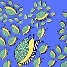 Floral Random doodle blue with flower buds  by HEVIFineart