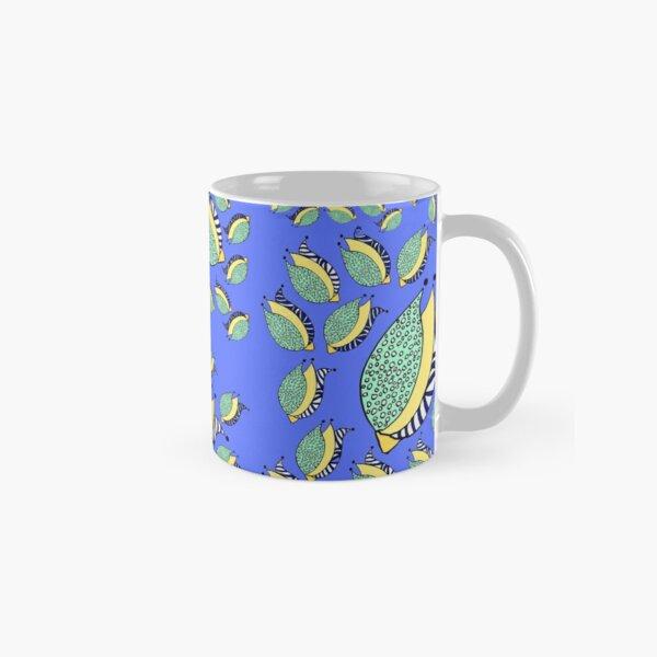 Floral Random doodle blue with flower buds  Classic Mug