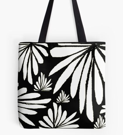 Black white fern floral abstract print Tote Bag