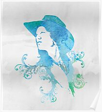 Wild West Series Watercolor Cowgirl Poster