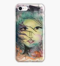 Lady of Nature, Mixed Media Artwork by Yolanda Nussdorfer iPhone Case/Skin