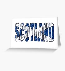 Scotland Font with Scottish Flag Greeting Card