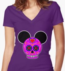 Dia De Los Muertos Ears (Pink) Women's Fitted V-Neck T-Shirt