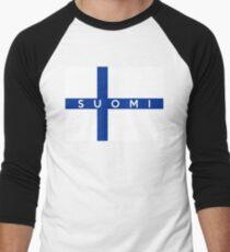 flag of finland Men's Baseball ¾ T-Shirt