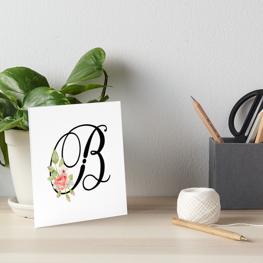 Floral Monogram Fancy Script Letter B Art Boards By Grafixmom