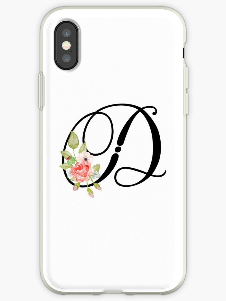 floral monogram fancy script letter d iphone cases covers by