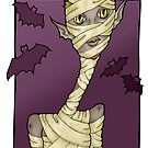 Happy Halloween Mummy and Bats by shelahdowart