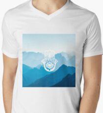 Zen Blue Mountains with Hamsa Hand T-Shirt