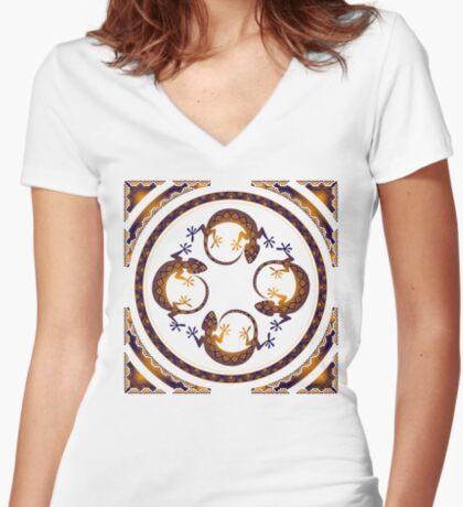 Orange Gecko Women's Fitted V-Neck T-Shirt