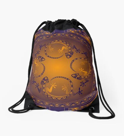 Orange Gecko Drawstring Bag