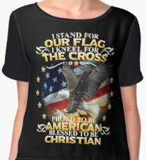 I Stand For Our Flag I Kneel For The Cross American Christian Women's Chiffon Top