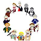 Twelve Doctors Muppet Style Clock by Qooze