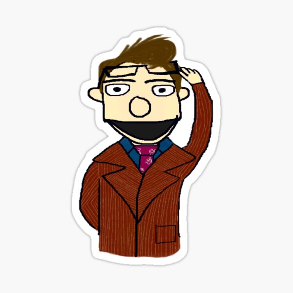 Tenth Doctor Muppet Style Sticker