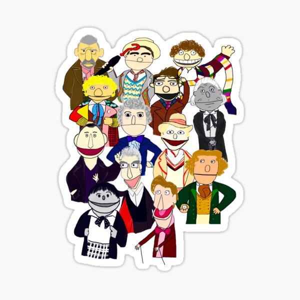 Twelve Doctors Plus the War Doctor Muppet Style Sticker