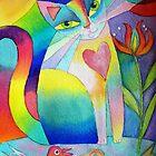 2 birds and a cat by Karin Zeller