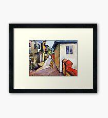 landscape watercolor Indian village Framed Print