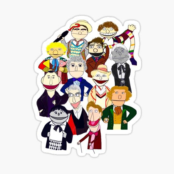Twelve Doctors Muppet Style Sticker