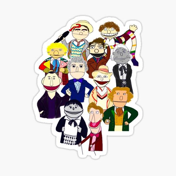 Eleven Doctors Muppet Style Sticker