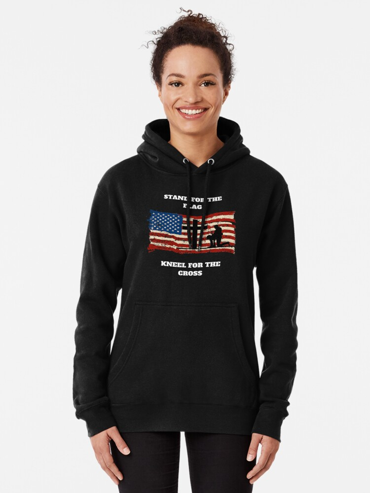 I Stand for The Flag and Kneel for The Cross Jacket Pullover Hoodie for Women