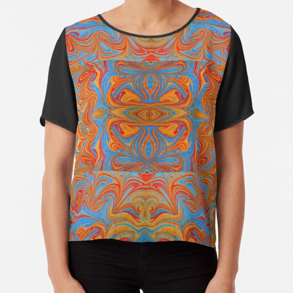 Marbled Checkers Chiffon Top
